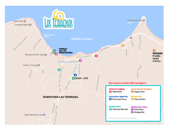 Map of Las Terrenas Town. Find all on this Map of Las Terrenas Dominican Republic.